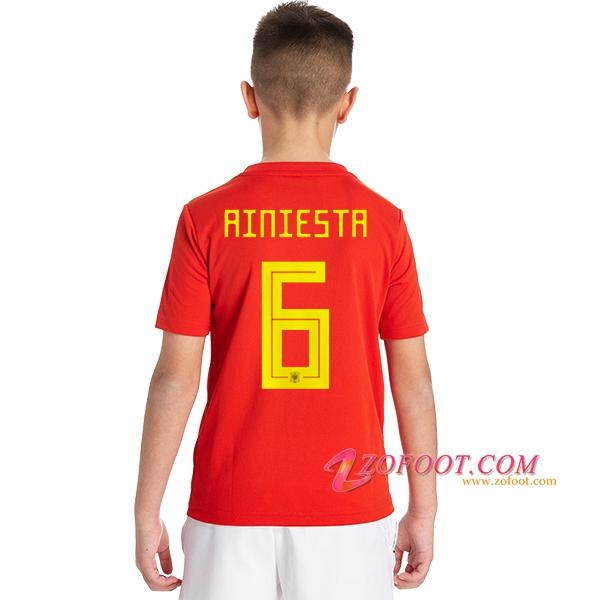 Maillot Football Espagne Coupe de Monde 2018 Enfant (A.Iniesta 6) Domicile