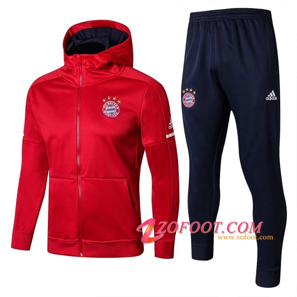 Sweat a Capuche Survetement de Foot Bayern Munich Rouge 2017/2018 Ensemble