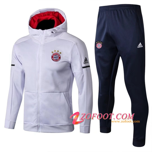 Sweat a Capuche Survetement de Foot Bayern Munich Blanc 2017/2018 Ensemble