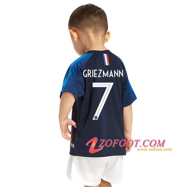 short Maillot équipe de France football 2019 2 étoiles Enfant personnalisé
