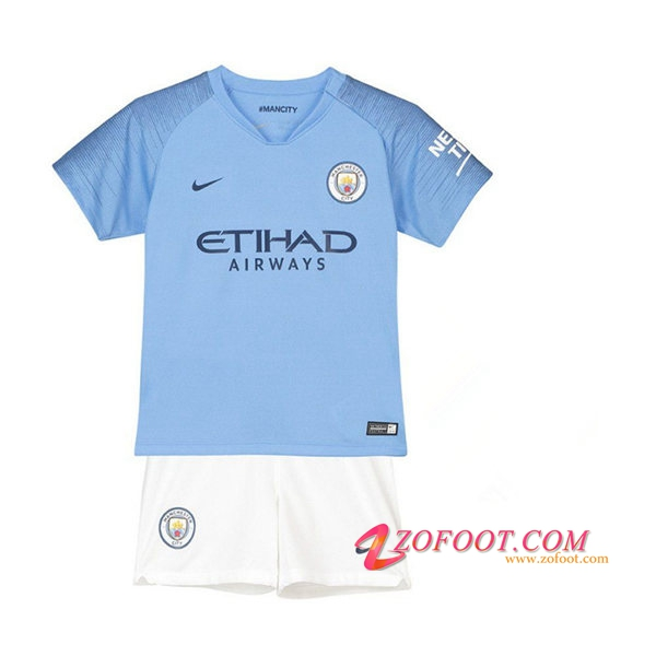 Ensemble Maillot + Short Manchester City Enfants Domicile 2018/2019