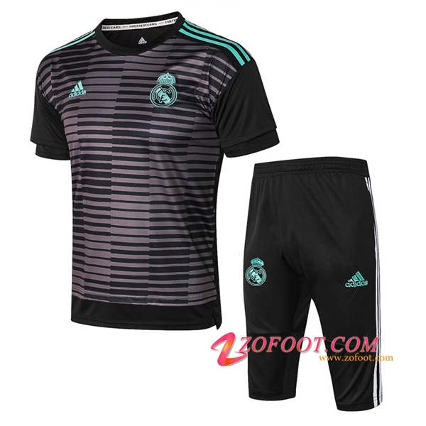 PRÉ MATCH Ensemble Training Real Madrid + Pantalon 3/4 Noir/Gris 2018/2019