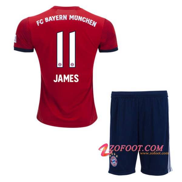 Ensemble Maillot + Short Bayern Munich (11 JAMES) Enfant Domicile 2018/19