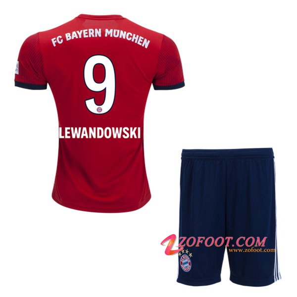 Ensemble Maillot + Short Bayern Munich (9 LEWANDOWSKI) Enfant Domicile 2018/19