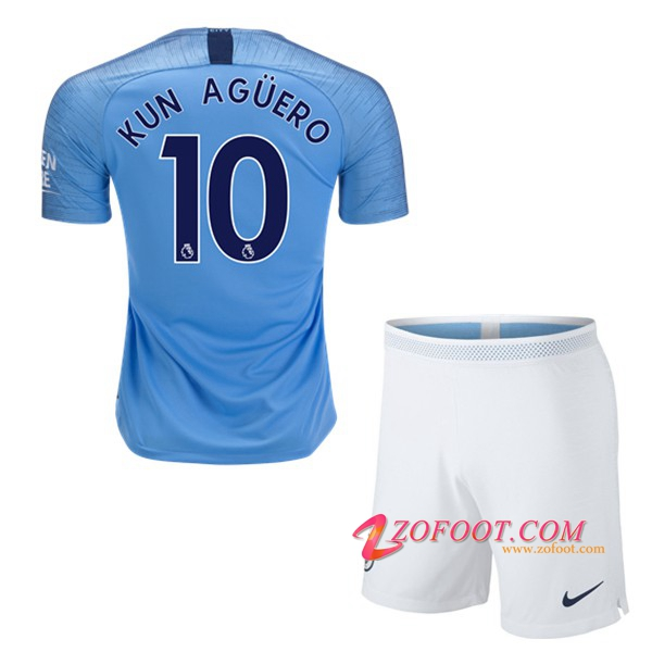 Ensemble Maillot + Short Manchester City (10 KUN AGUERO) Enfant Domicile 2018/19