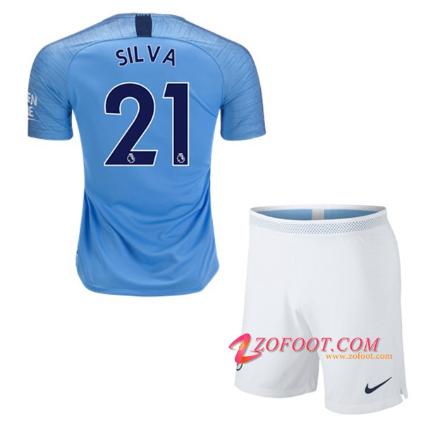 Ensemble Maillot + Short Manchester City (21 SILVA) Enfant Domicile 2018/19