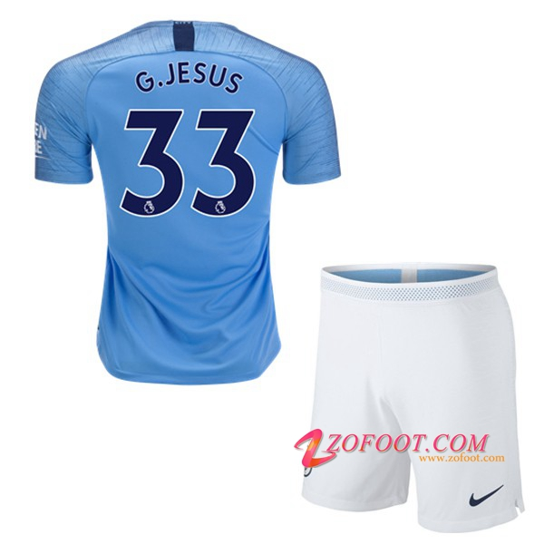 Ensemble Maillot + Short Manchester City (33 G.JESUS) Enfant Domicile 2018/19