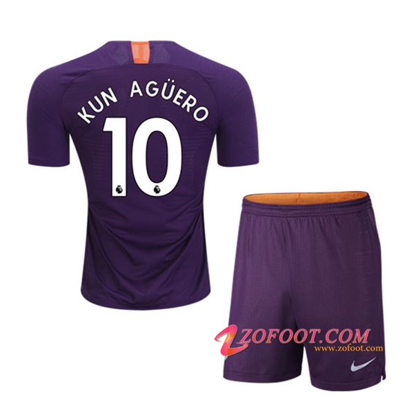 Ensemble Maillot + Short Manchester City (10 KUN AGUERO) Enfants Third 2018/19