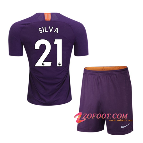 Ensemble Maillot + Short Manchester City (21 SILVA) Enfants Third 2018/19