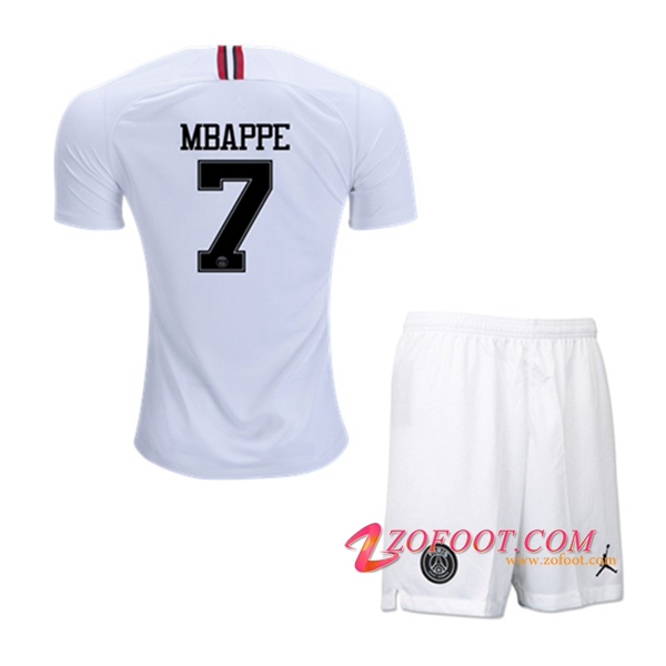 Ensemble Maillot + Short PSG (MBAPPE 7) Enfants Blanc Third 2018/19