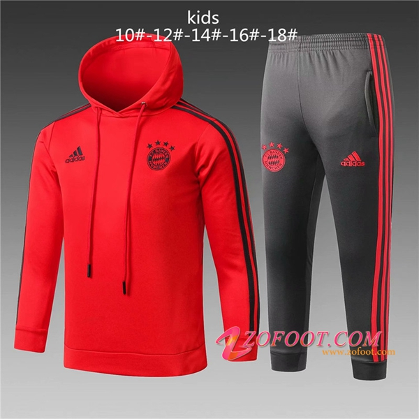 Sweat A Capuche Survetement de Foot Bayern Munich Enfant Rouge 2018/2019