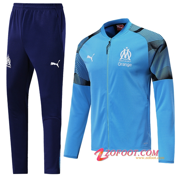Ensemble Survetement Foot - Veste Marseille OM Bleu 2019/2020