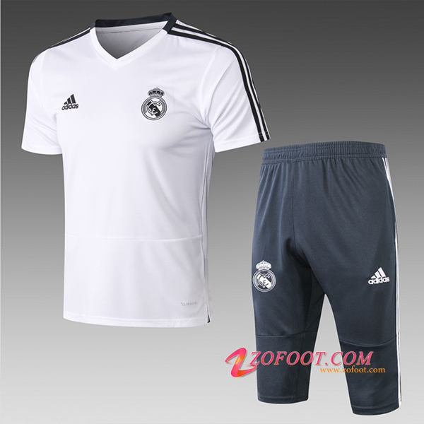Ensemble PRÉ MATCH Training Real Madrid + Pantalon 3/4 Blanc 2019/2020