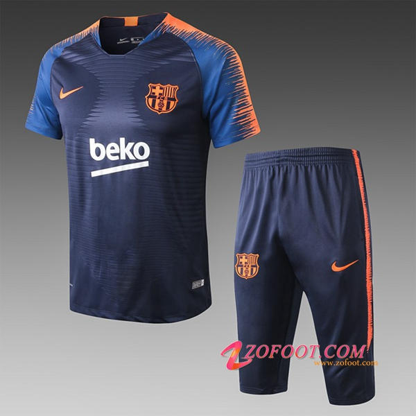 Ensemble PRÉ MATCH Training FC Barcelone + Pantalon 3/4 Orange/Bleu Fonce 2019/2020