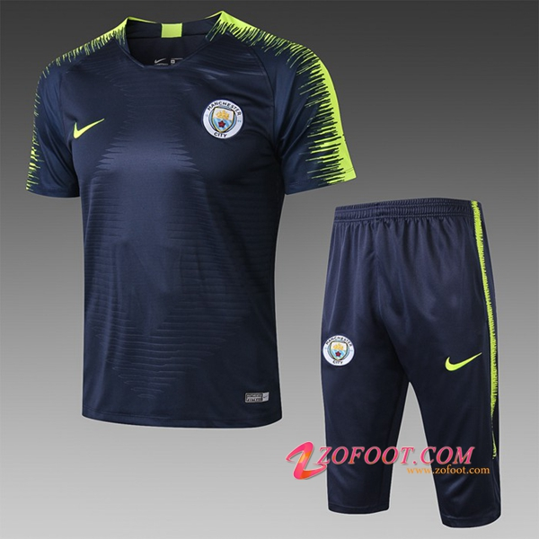 Ensemble PRÉ MATCH Training Manchester City + Pantalon 3/4 Bleu Fonce 2019/2020