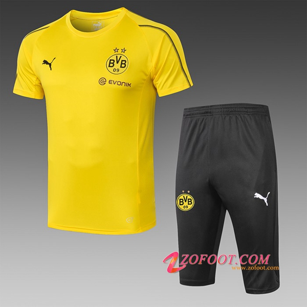Ensemble PRÉ MATCH Training Dortmund BVB + Pantalon 3/4 Jaune 2019/2020