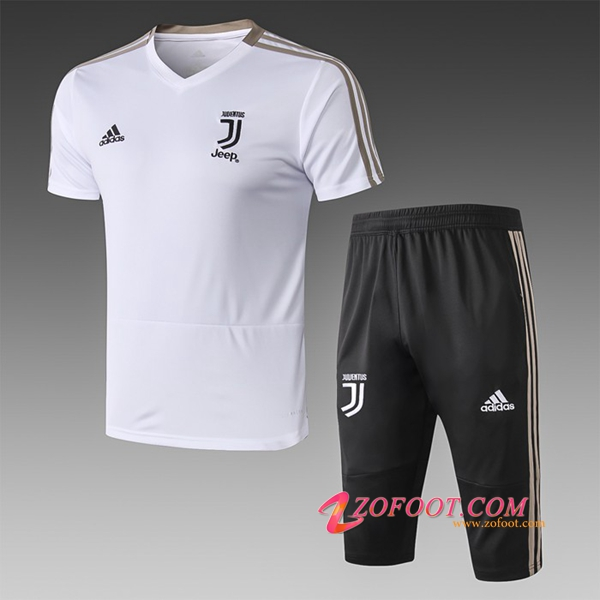 Ensemble PRÉ MATCH Training Juventus + Pantalon 3/4 Blanc 2019/2020