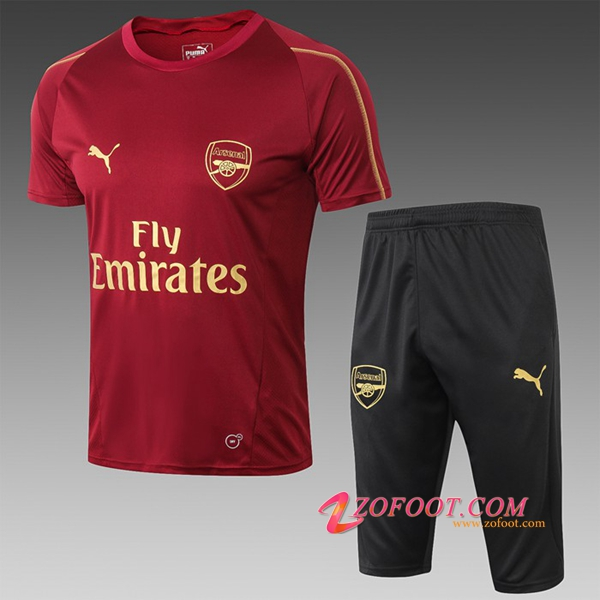 Ensemble PRÉ MATCH Training Arsenal + Pantalon 3/4 Rouge 2019/2020