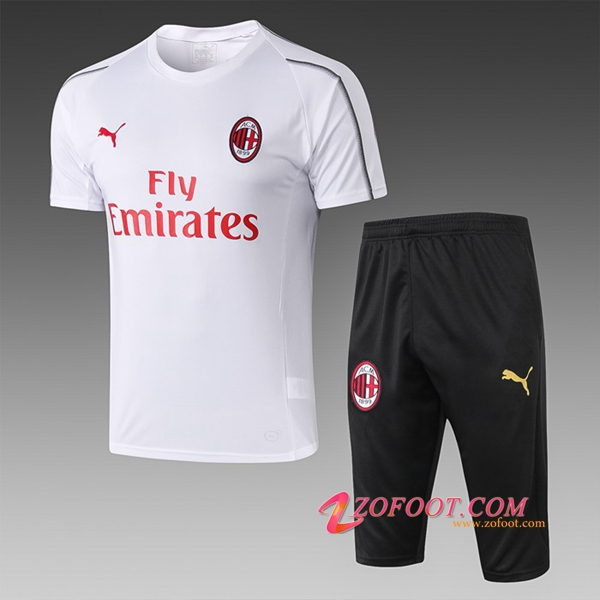 Ensemble PRÉ MATCH Training Milan AC + Pantalon 3/4 Blanc 2019/2020