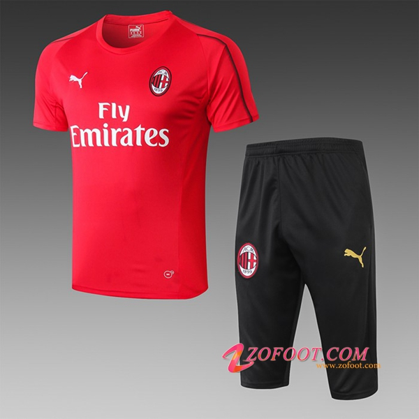 Ensemble PRÉ MATCH Training Milan AC + Pantalon 3/4 Rouge 2019/2020