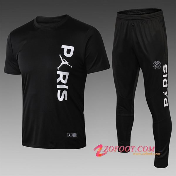 Ensemble PRÉ MATCH Training Paris PSG Jordan + Pantalon 3/4 Noir 2019/2020