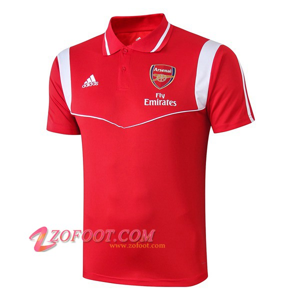 Polo Foot Arsenal Rouge/Blanc 2019/2020