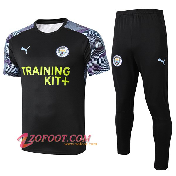 Ensemble Training T-Shirts Manchester City + Pantalon Noir 2019/2020