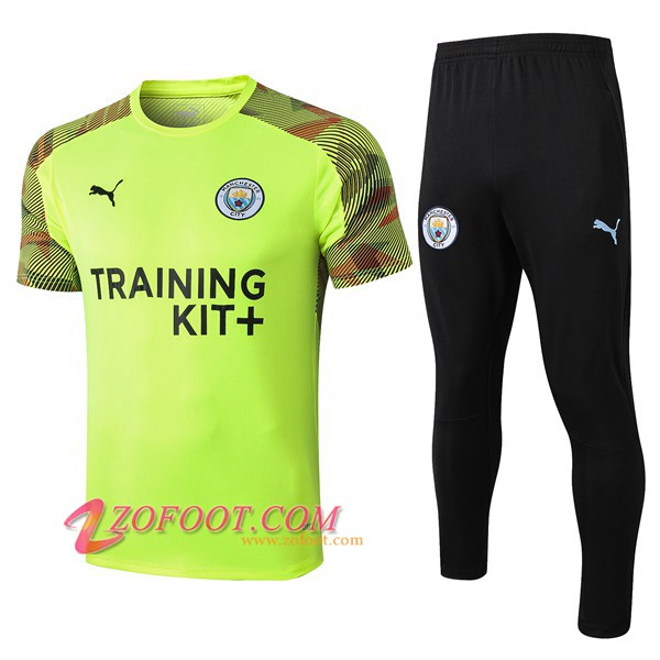 Ensemble Training T-Shirts Manchester City + Pantalon Vert 2019/2020