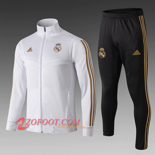 Ensemble Survetement Foot - Veste Real Madrid Enfant Blanc Col montant 2019/2020