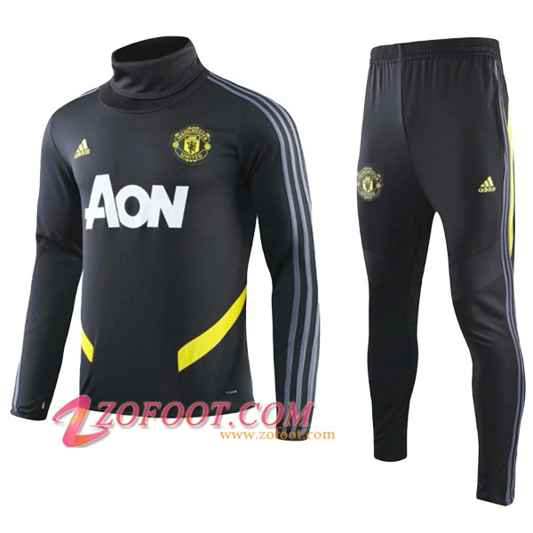 Ensemble Survetement de Foot Manchester United Enfant Noir Col Haut 2019/2020