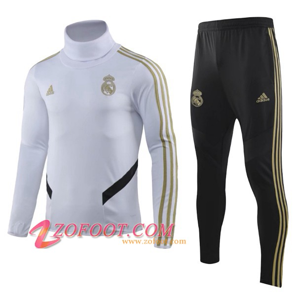 Ensemble Survetement de Foot Real Madrid Enfant Blanc Col Haut 2019/2020