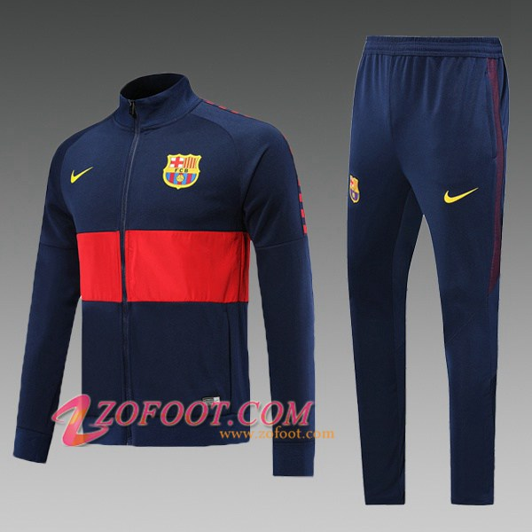 Ensemble Survetement Foot - Veste FC Barcelone Enfant Bleu Saphir Rouge 2019/2020