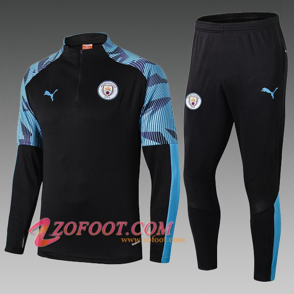 Ensemble Survetement de Foot Manchester City Enfant Noir Bleu 2019/2020