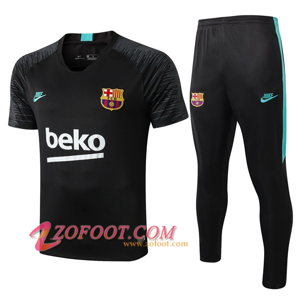 Ensemble Training T-Shirts FC Barcelone Noir Vert 2019/2020