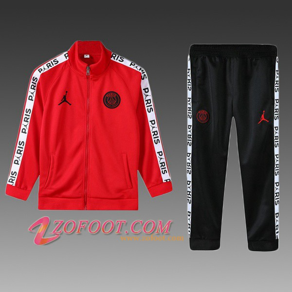 Ensemble Survetement de Foot - Veste PSG Jordan Enfant Rouge 2019/2020