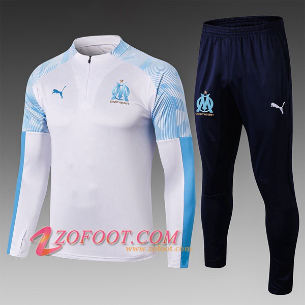 Ensemble Survetement de Foot Marseille Enfant Blanc 2019/2020