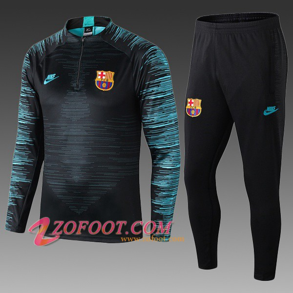 Ensemble Survetement de Foot FC Barcelone Enfant Noir 2019/2020