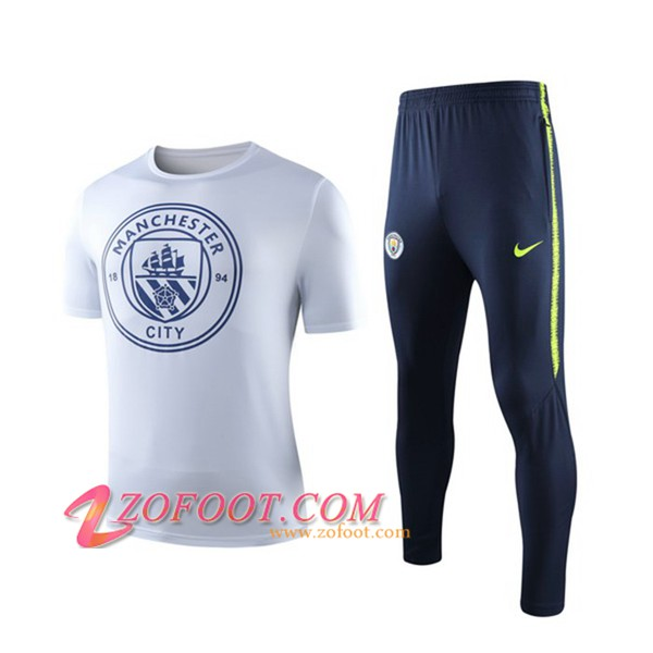 Ensemble Training T-Shirts Manchester City + Pantalon Blanc 2019/2020
