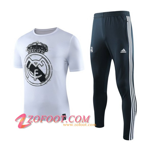 Ensemble Training T-Shirts Real Madrid + Pantalon Blanc 2019/2020