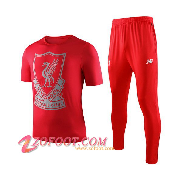 Ensemble Training T-Shirts Liverpool Enfants + Pantalon Rouge 2019/2020
