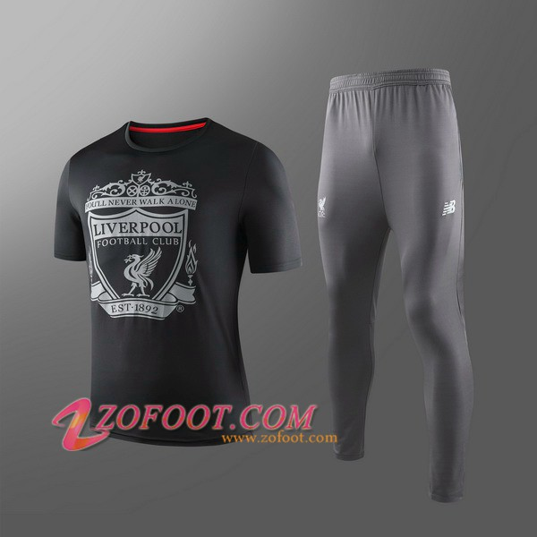 Ensemble Training T-Shirts Liverpool Enfants + Pantalon Noir 2019/2020