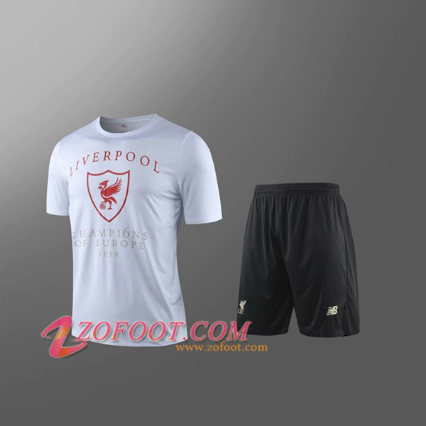 Maillot de Foot FC Liverpool + Shorts Enfants Blanc 2019/2020