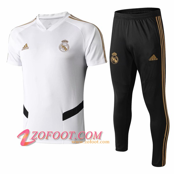 Ensemble Training T-Shirts Real Madrid + Pantalon Blanc/Noir 2019/2020