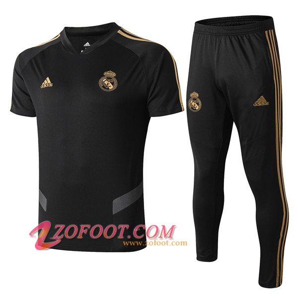 Ensemble Training T-Shirts Real Madrid + Pantalon Noir/Gris 2019/2020