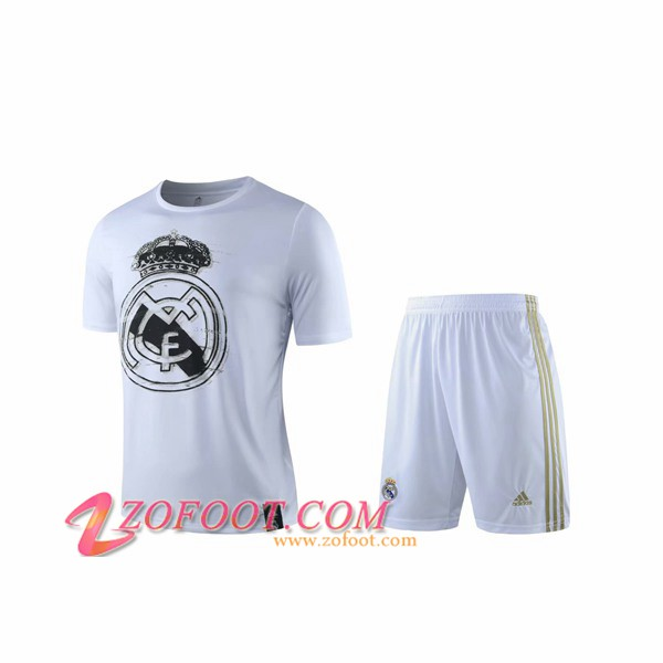 Ensemble Training T-Shirts Real Madrid + Shorts Blanc 2019/2020