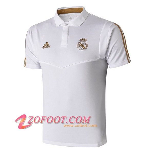 Polo Foot Real Madrid Blanc Jaune 2019/2020