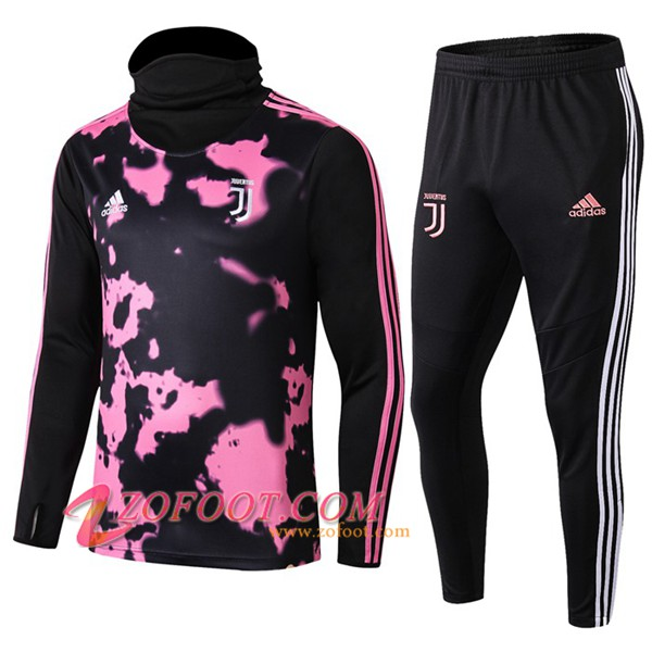 Ensemble Survetement de Foot Juventus Rose/Noir Col Haut 2019/2020