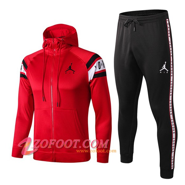 Veste A Capuche Survetement Foot PSG Jordan Rouge 2019/2020