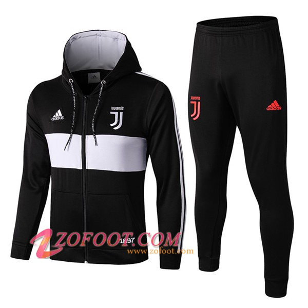 Veste A Capuche Survetement Foot Juventus Noir/Blanc 2019/2020