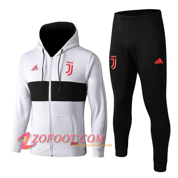 Veste A Capuche Survetement Foot Juventus Blanc/Noir 2019/2020